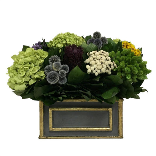 Wooden Rect. Container Dark Blue Grey w/ Gold - Echinops w/Banksia, Brunia, Pharalis & Hydrangea Basil
