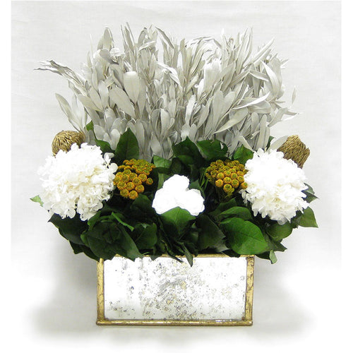 Wooden Rect Container - Gold Antique w/ Antique Mirror & Medallion - Integ White, Roses White, Banksia Gold & Hydrangea White
