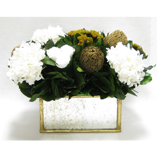 Wooden Rect Container - Gold Antique w/ Antique Mirror - Roses White, Banksia Gold, Brunia Gold & Hydrangea White