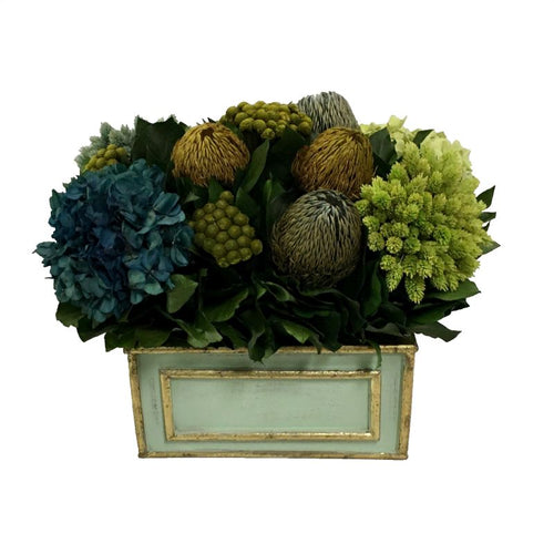 Wooden Rect. Container Grey Green w/ Gold - Banksia, Pharalis & Hydrangea Basil & Natural Blue