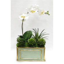 Load image into Gallery viewer, Wooden Rect Container Gray/Green  - White & Yellow Orchid w/Succulents
