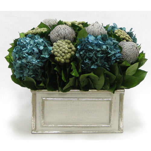 Wooden Rect Grey Silver Container - Banksia Lt Grey, Brunia Nat & Hydrangea Natural Blue