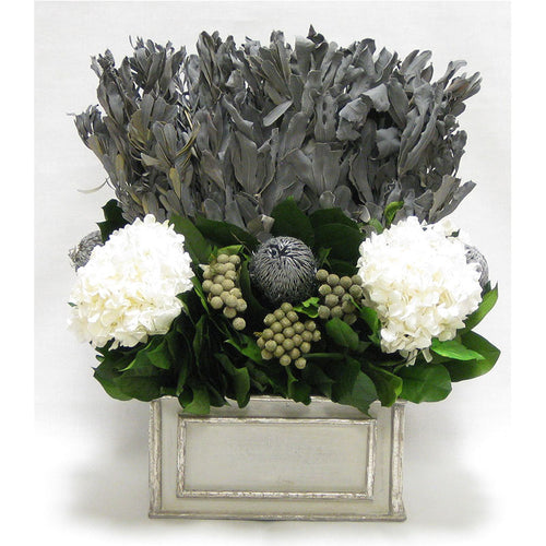 Wooden Rect Grey Silver Container - Integ Grey, Banksia Silver, Brunia Natural & Hydrangea White