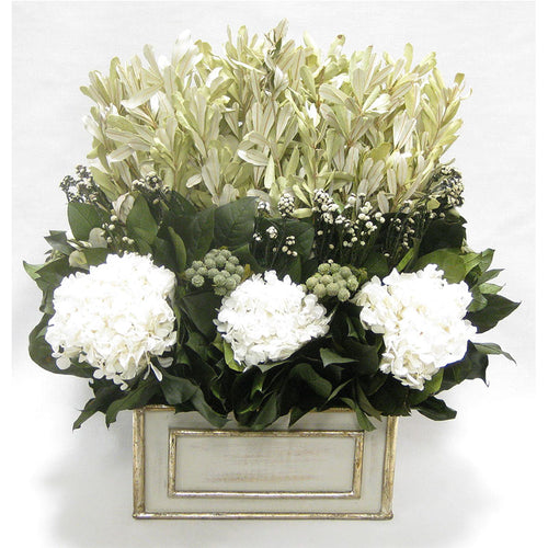 Wooden Rect Grey Silver Container - Integ, Phylica White, Brunia Natural & Hydrangea White