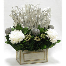 Load image into Gallery viewer, [WRP-GS-IWBKBRHDW] Wooden Rect Grey Silver Container - Integ White, Banksia Grey, Brunia Natural & Hydrangea White