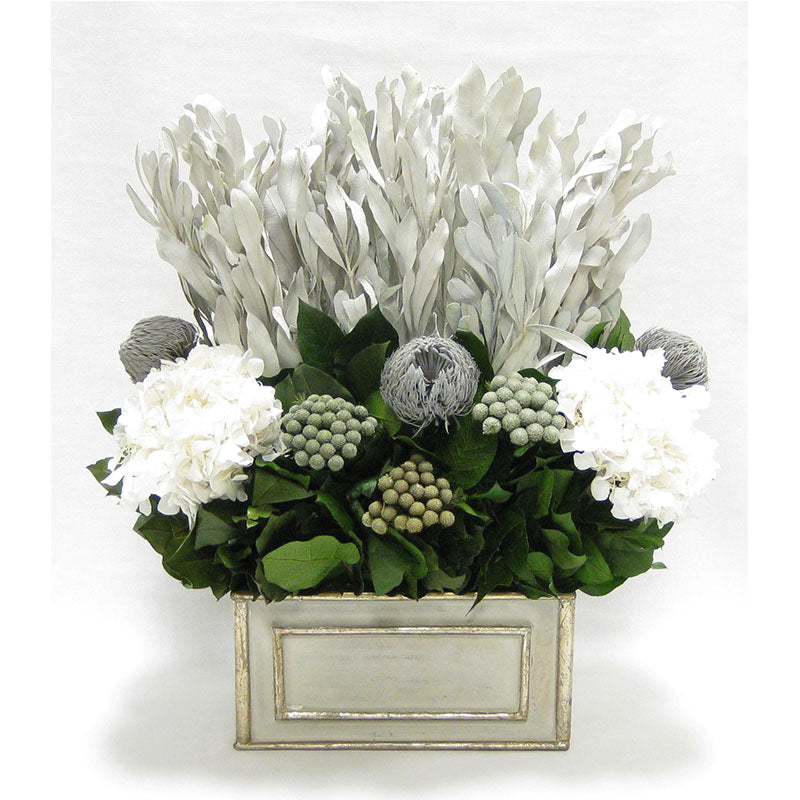 Wooden Rect Grey Silver Container - Integ White, Banksia Grey, Brunia Natural & Hydrangea White