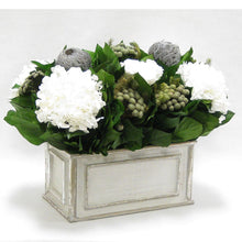 Load image into Gallery viewer, [WRP-GS-RBKBRHDW] Wooden Rect Grey Silver Container - Roses White, Banksia Lt Grey, Brunia Nat & Hydrangea White