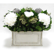 Load image into Gallery viewer, Wooden Rect Grey Silver Container - Roses White, Banksia Lt Grey, Brunia Nat & Hydrangea White