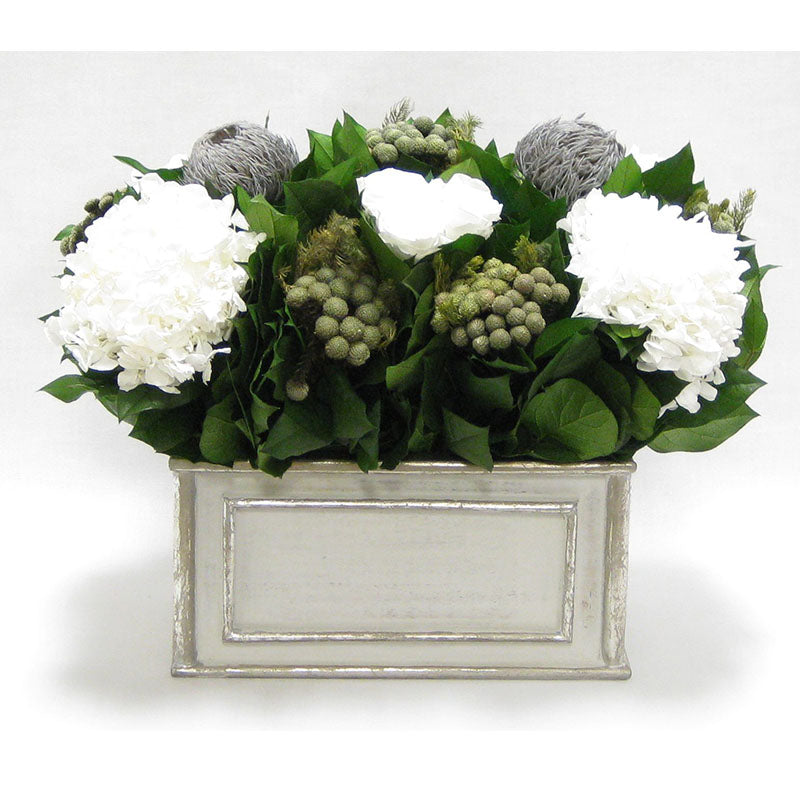 Wooden Rect Grey Silver Container - Roses White, Banksia Lt Grey, Brunia Nat & Hydrangea White
