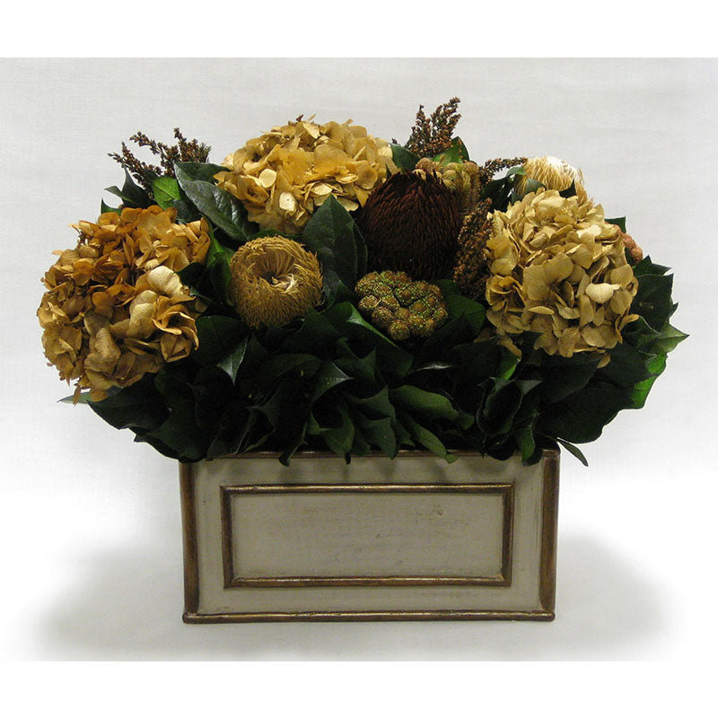 Wooden Rect Container Patina Distressed w/Bronze - Multi Brown and Hydrangea Ivory