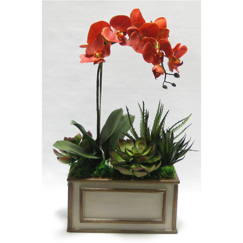 Wooden Rect Container Patina Distressed w/Bronze - Orchid White & Yellow w/Succelents Artificial