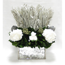 Load image into Gallery viewer, Wooden Rect Container - Silver Antique w/ Antique Mirror - Integ White, Roses White, Banksia Silver & Hydrangea White