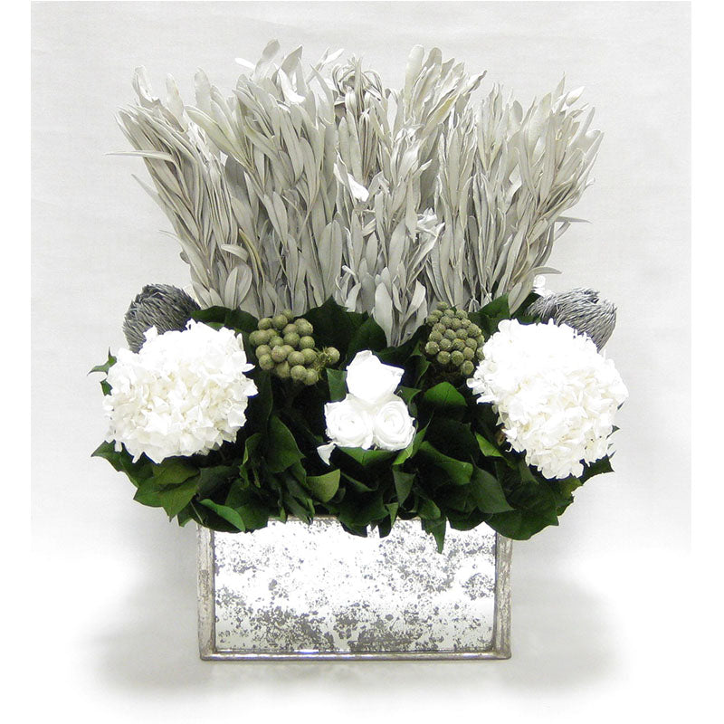 Wooden Rect Container - Silver Antique w/ Antique Mirror - Integ White, Roses White, Banksia Silver & Hydrangea White