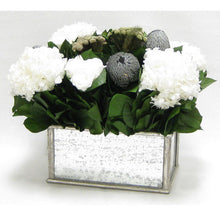 Load image into Gallery viewer, [WRP-SAM-RBKSIHDW] Wooden Rect Container - Silver Antique w/ Antique Mirror - Roses White, Banksia Silver, Brunia Natural & Hydrangea White
