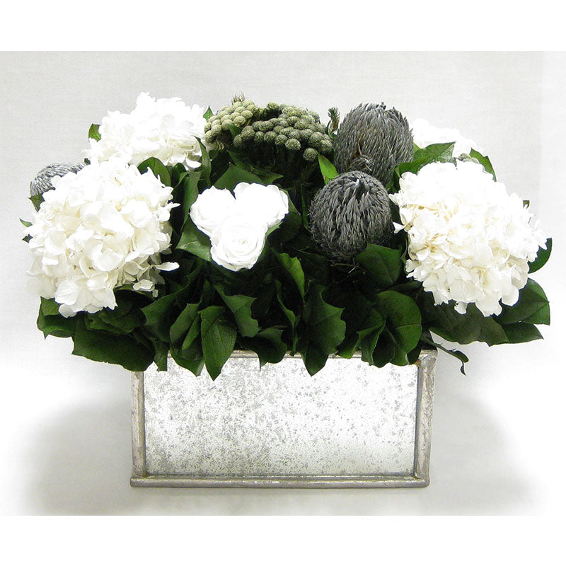 Wooden Rect Container - Silver Antique w/ Antique Mirror - Roses White, Banksia Silver, Brunia Natural & Hydrangea White
