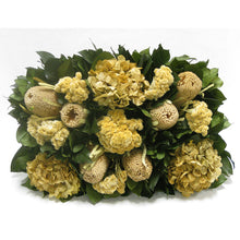 Load image into Gallery viewer, [WRP-WA-BKCLHDI] Wooden Rect Container Weathered Antique - Banksia Natural, Celosia and Hydrangea Ivory