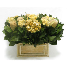 Load image into Gallery viewer, Wooden Rect Container Weathered Antique - Banksia Natural, Celosia and Hydrangea Ivory