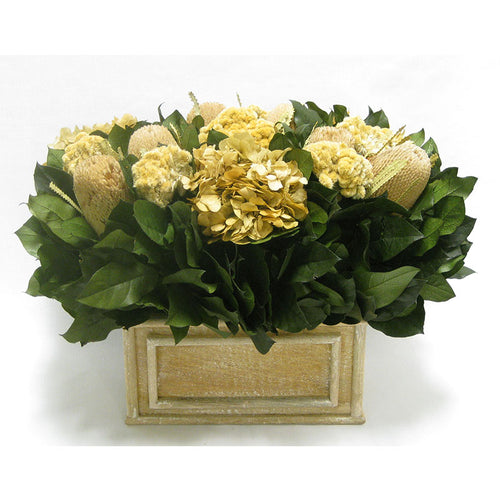 Wooden Rect Container Weathered Antique - Banksia Natural, Celosia and Hydrangea Ivory