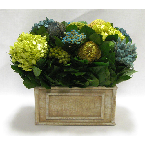 Wooden Rect Container Weathered Antique - Banksia, Pharalis & Hydrangea Basil & Natural Blue