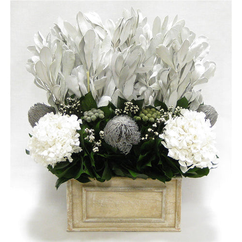 Wooden Rect Container Weathered Antique - Integ White, Phylica White, Banksia Grey, & Hydrangea White