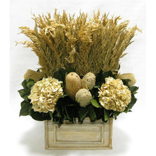 Load image into Gallery viewer, Wooden Rect Container Natural - Wild Oats, Banksia Natural & Hydrangea Ivory