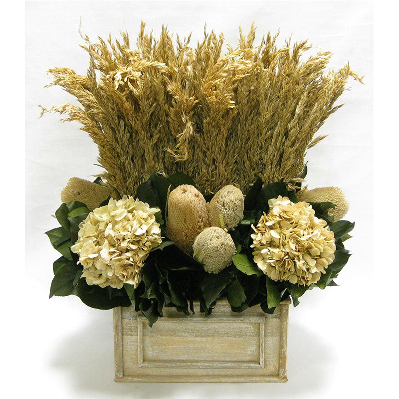 Wooden Rect Container Natural - Wild Oats, Banksia Natural & Hydrangea Ivory