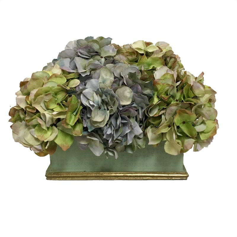 Wooden Rect Container Grey Green & Gold - Hydrangea Aqua & Green Artificial