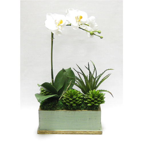 Wooden Rect Container Green w/ Gold Antique - Orchid White & Yellow w/Succulents Artificial