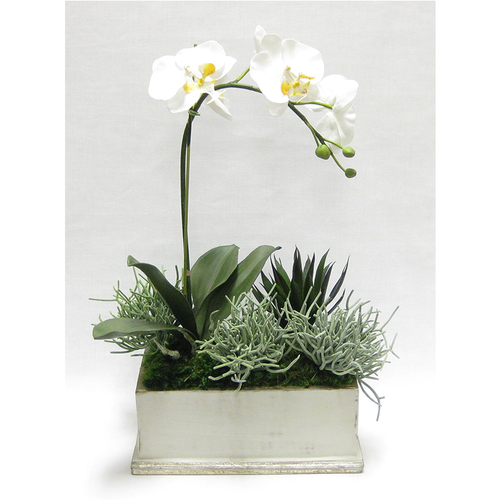 Wooden Rect Container Grey w/ Silver Antique - Orchid White & Yellow w/Succulents Artificial