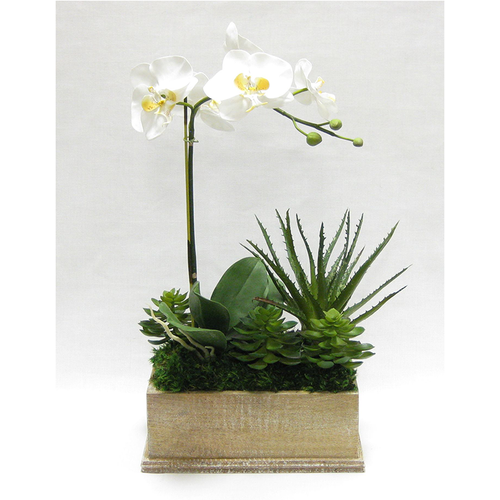 Wooden Rect Container Weathered Antique - Orchid White & Yellow w/Succulents Artificial