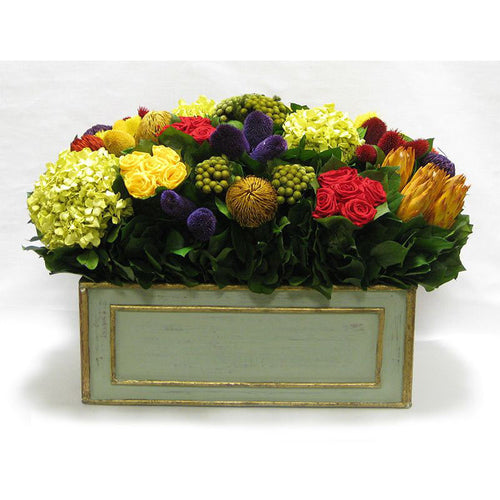 Wooden Rect Grey Green Large Container - Multicolor w/ Clover, Roses, Banksia, Protea & Hydrangea Basil