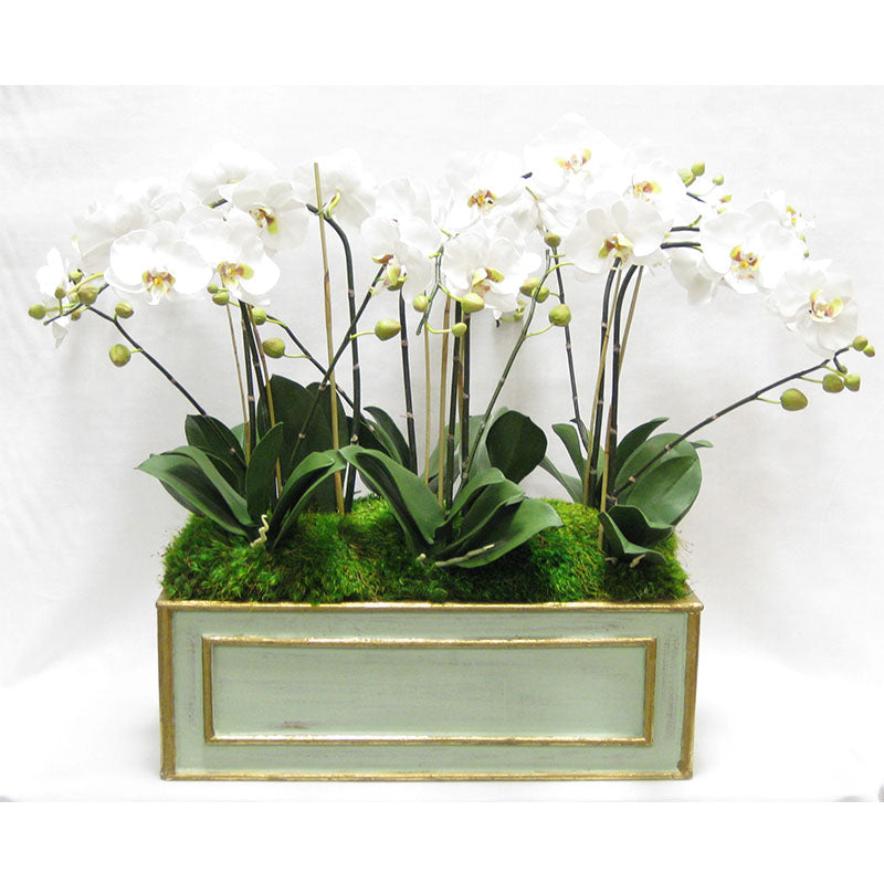 Wooden Large Rect Container Grey Green  - White & Green Orchid Artificial