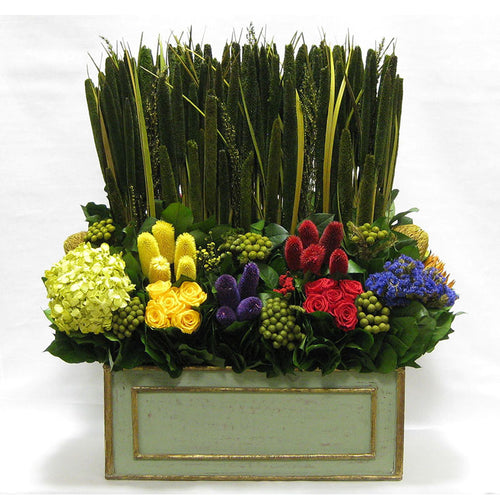 Wooden Rect Grey Green Large Container - Multicolor w/ Pensularia, Clover, Roses, Banksia, Protea & Hydrangea Basil