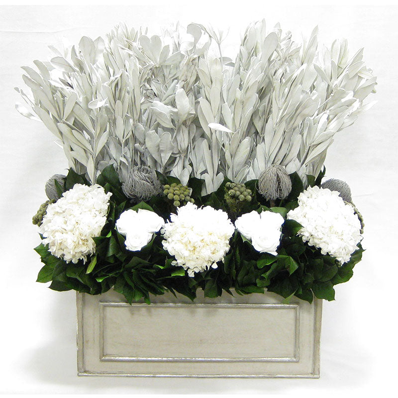 Wooden Rect Grey Silver Large Container - Integ, Roses White, Banksia Grey, Brunia Natural & Hydrangea White