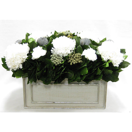 Wooden Rect Grey Silver Large Container - Roses White, Banksia Lt. Grey, Brunia Natural & Hydrangea White