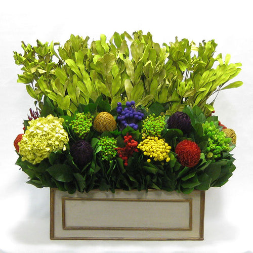 Wooden Rect. Planter - Patina Distressed w/ Bronze - Integ Green w/ Multicolor Banksia, Brunia, Pharalis & Hydrangea Basil..