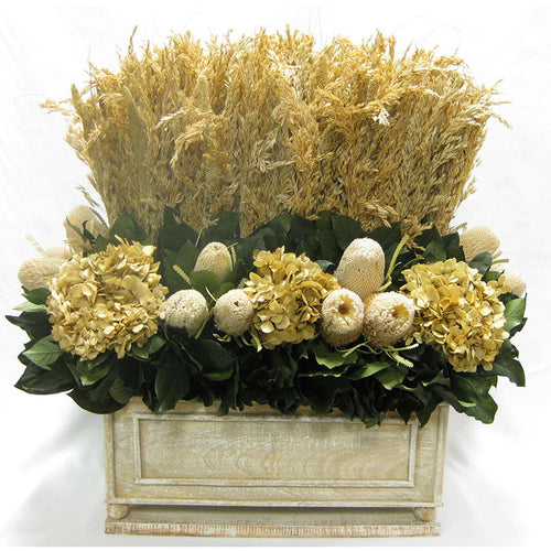 Wooden Rect Natural Large Container - Wild Oats Natural, Pensularia Natural, Banksia Natural & Hydrangea Natural