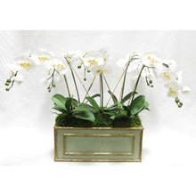 Load image into Gallery viewer, Wooden Medium Rect Container Grey Green - White & Yellow Orchid Artificial
