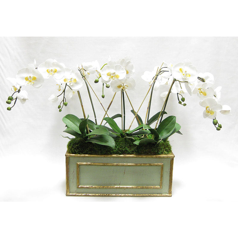 Wooden Medium Rect Container Grey Green - White & Yellow Orchid Artificial
