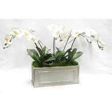 Load image into Gallery viewer, [WRPM-GS-ORYEX] Wooden Medium Rect Container Grey Silver - White & Yellow Orchid Artificial
