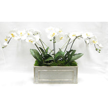 Load image into Gallery viewer, Wooden Medium Rect Container Grey Silver - White & Yellow Orchid Artificial