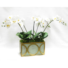 Load image into Gallery viewer, [WRPO-GG-ORYEX] Wooden Rect Container w/ Circle Grey/Green w/ Antique Gold - White & Yellow Orchid Artificial
