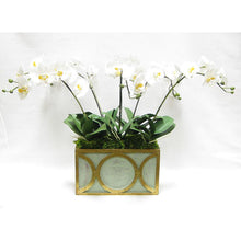Load image into Gallery viewer, Wooden Rect Container w/ Circle Grey/Green w/ Antique Gold - White & Yellow Orchid Artificial