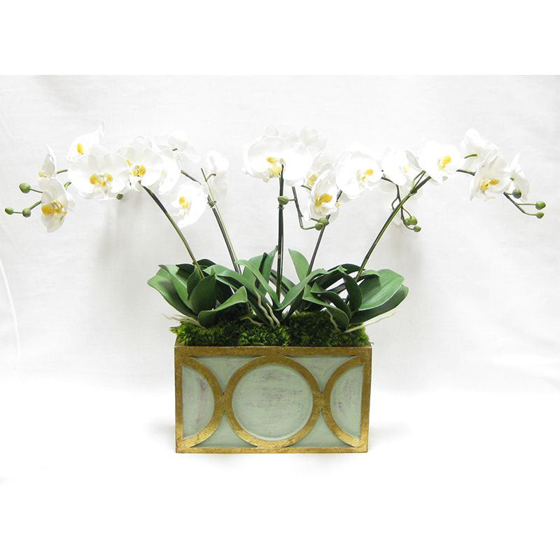 Wooden Rect Container w/ Circle Grey/Green w/ Antique Gold - White & Yellow Orchid Artificial