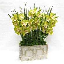Load image into Gallery viewer, [WRPQ-GS-CYBG] Wooden Rect Container w/ Square  Grey & Antique Silver - Cymbidium Orchid Green Artificial