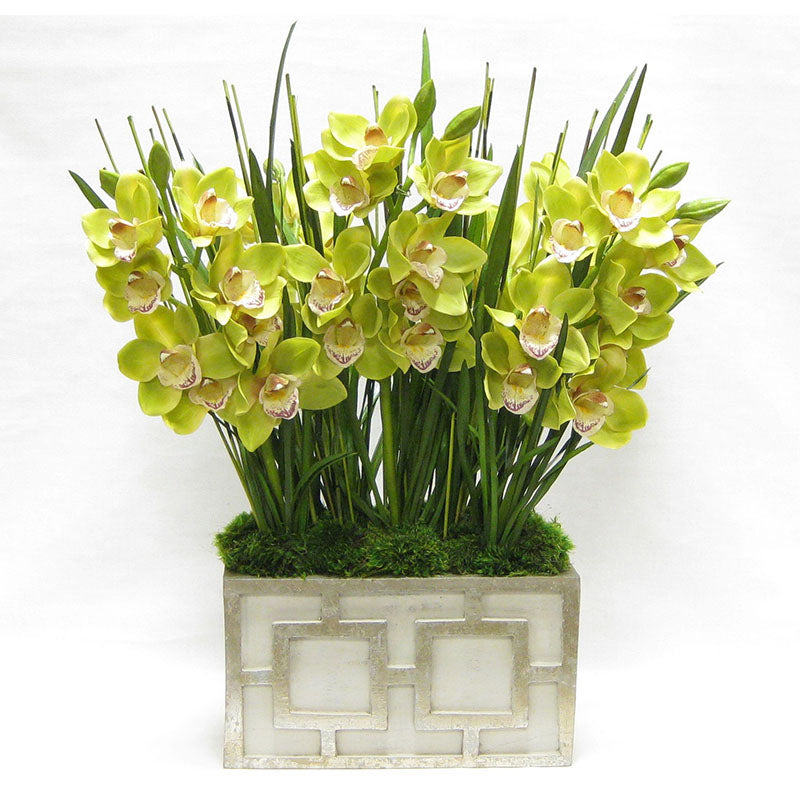 Wooden Rect Container w/ Square  Grey & Antique Silver - Cymbidium Orchid Green Artificial