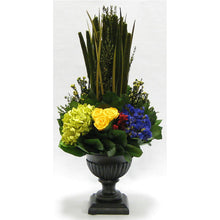 Load image into Gallery viewer, Wooden Ribbed Urn Black Antique - Pensularia with Multicolor
