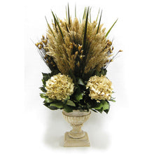 Load image into Gallery viewer, Wooden Weathered Ribbed Urn - Grass Plumes Natural & Hydrangea Ivory