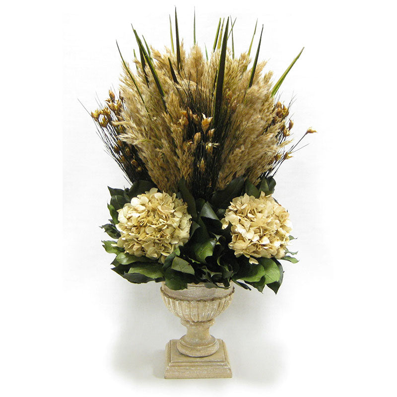 Wooden Weathered Ribbed Urn - Grass Plumes Natural & Hydrangea Ivory