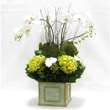 Load image into Gallery viewer, Wooden Square Container Gray/Green - Orchid Artificial, Preserved Roses, Brunia, Mushrooms, & Hydrangea Basil
